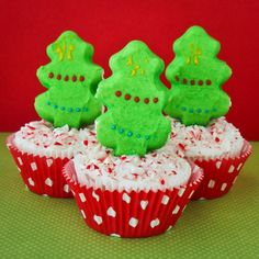 PEEPS Christmas Tree Cupcakes With Candy Cane Frosting