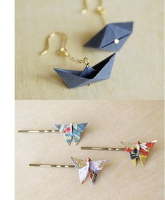 Origami jewelry: Invest in proper thicker washi paper to make it durable and pre. Origami-Schmuck: Investieren Sie in richtig dickeres Washi-Papier, um Diy Origami, Origami Love, Origami Jewelry, Paper Jewelry, Paper Beads, Origami Paper, Origami Folding, Paper Folding, Origami Fashion