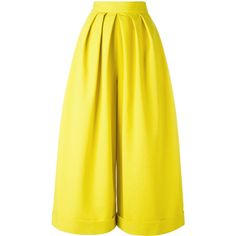 Delpozo pleated palazzo trousers ($1,260) ❤ liked on Polyvore featuring pants, pleated trousers, delpozo, pleated palazzo pants, palazzo pants and yellow pants