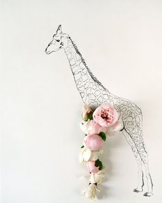 Giraffes and flowers. Yes.