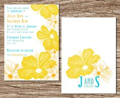 DIY Printable Wedding Invitation and RSVP card set: Hibiscus Hawaiian Breeze. $25.00, via Etsy.  Vintageminds