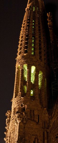La Sagrada Familia. This photo was taken on April 27, 2010 in La Dreta De L'eixample, Barcelona, Catalonia, ES, by Julien ERRERA, via Flickr.