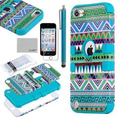 Black Friday Pandamimi ULAK 3 in 1 Hybrid Green Hard Aztec Tribal Pattern and Blue Silicon Case Cover For Apple iPod Touch Generation Screen Protector Blue Stylus from ULAK Cute Ipod Cases, Ipod Touch Cases, Ipod Touch 6th, Cool Cases, Cool Iphone Cases, Iphone 4s, Apple Iphone, Ipod Covers, Aztec Tribal Patterns