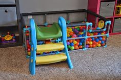 DIY ball pit made out of PVC pipe painted, mesh, and pool noodles!