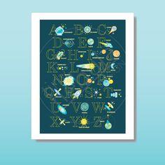 Astrophysics Alphabet Poster: gender neutral by TinyNebulaDesigns