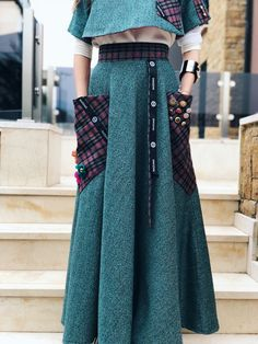 Fit sizes: Xs/S Design Zuzka Mak Made in Greece Handmade Wear with basic T shirt Wear with With Blouse Wear with Black Blouse Made from Wool Under is anot Long Green Skirt, Black Blouse, Board, Skirts, How To Wear, Collection, Design, Style, Fashion