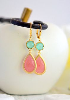 Coral Pink and Mint Aqua Bridesmaids Earrings. Dangle Earrings by RusticGem.