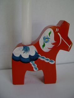 Vintage Swedish Dala Horse Folk Art Souvenir Candle by junquegypsy, $24.80