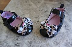 Olivia Paige - Rockabilly Little pin up superstar leopard bows baby shoe flats
