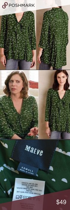 """Maeve green cloud tunic style top Maeve green cloud tunic style top  So soft ! Hi-lo  Waist 18"""" Anthropologie Tops Blouses"""