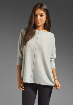 ALICE + OLIVIA Slouchy Pullover in Light Grey