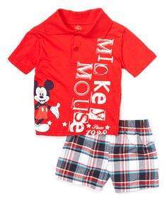This Red Mickey Mouse Polo & Plaid Shorts - Infant & Toddler is perfect! #zulilyfinds
