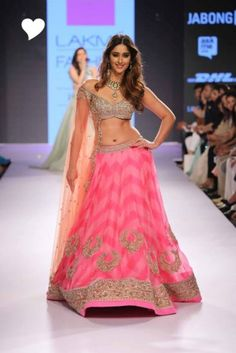 Sangeet Lehengas - Silver sequins blouse with Pink and light pink shaded lehenga with gold work | WedMeGood #wedmegood #lehenga #pink #silver