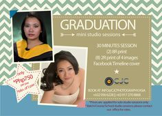 Congratulations Graduating Class of 2015!  We want you to have the best graduation photos.  We are offering Graduation Mini Studio Sessions- 30 minutes solo session.  2 pcs 8R print 8pcs  2R print of 4 images  Contact us for details and to reserve your session. info@cjcphotography.asia  +632 956 6228 +63 917 270 8868   #Congratulations #Graduation #Photography Graduating Class, 4 Images, Graduation Photography, Facebook Timeline Covers, Graduation Photos, Congratulations, Asia, How To Apply, Portrait