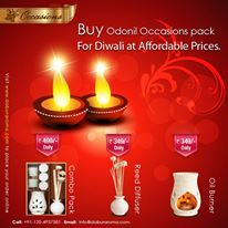 Bring home the divine fragrances of Odonil Occasions .  Diwali OFFER: Buy 2 combo packs and get Rs. 100 OFF.  Visit us at :www.daburaroma.com and use coupon code: COMBO100