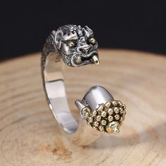 Men's Sterling Silver Buddha and Devil Ring - Jewelry1000.com