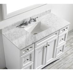 Naples 48-inch Single Vanity in White with Carrera White Marble Top (Mirrorless)