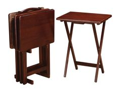 Coaster 901082 Tray Table Set - Merlot Add more table space with these four merlot solid wood tray tables. Easy to open and put away. Diy Furniture Projects, Coaster Furniture, Furniture Decor, Modern Furniture, Family Room Decorating, Wood Tray, Living Room Designs, Home Furnishings, Solid Wood