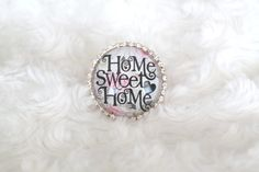 Grosse bague cabochon en verre loupe motif Home sweet home : Bague par tom-fimo-creations