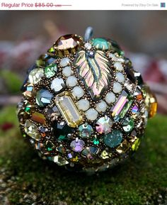 SALE Vintage Rhinestones Ball Orb Sphere by ASoulfulJourney, $68.00