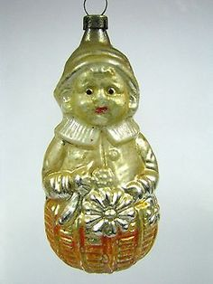 Vintage Antique GIRL w Flowers in Basket German Mercury Glass Christmas Ornament