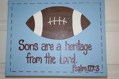 football themed nursery | Are A Heritage From the Lord, 16x20 Football Wall Art, Boys Nursery ...