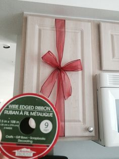 Dollar tree ribbon, cheap and simple, but nice christmas decor