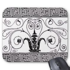 Vintage Art Deco Mousepad A classic vintage art deco design in black and white. Beautiful, unusual and different.