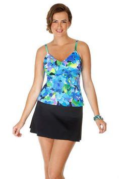 Caribbean Joe Women's Swimwear Diagonal Ruffle Tankini Top. Color moon glow print. This flowered swim suit top has a shelf bra and padded cups. Mix and match swimwear. Each piece is sold separately. Style # 861590. Caribbean Joe Women's Swimwear Diagonal Ruffle Tankini Top.