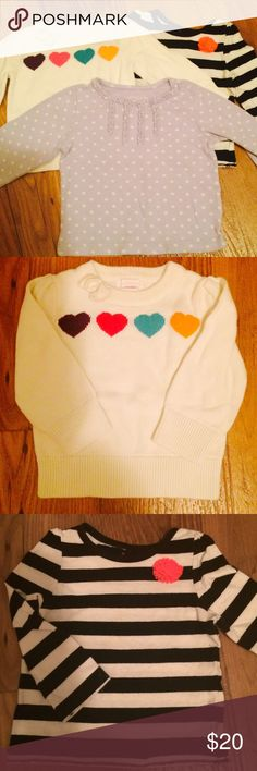 Set of Three Baby Girl Sweater Tops Three precious sweater tops for your little girl this Fall and Winter! Sizes 12-18 Months, in popular brands such as Cherokee Baby and Carter's. All very gently used (if used at all!), washed in Dreft detergent and from a pet free/smoke free home! Will include special extra gift as a thank you for your business ;) Cherokee Jackets & Coats
