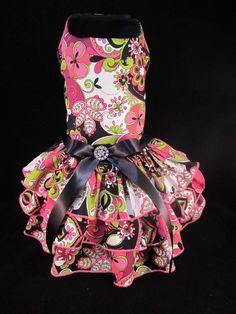 Funky Flower Dog Dress SMALL  _  #HandMadebyKim _ Facebook - Kim's Posh Pets
