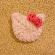 Hello Kitty Pink Crochet Felt Backed Clip Set via Etsy