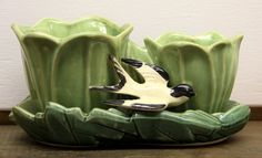 Vintage McCoy Double Planter with Bird