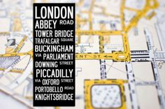 london London Poster, Type Treatments, London Bus, Oxford Street, Abbey Road, Hand Painted Canvas, London Calling, Cartography, Artist Canvas