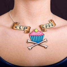 Pirate Cupcake Tattoo Necklace with  Pink Lemonade by orangyredink. For the girl who loves cupcakes AND pirates...It was made for me.