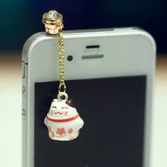 Kawaii WHITE LUCKY CAT Bell Iphone Earphone by fingerfooddelight, $8.50
