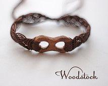 Macrame bracelet with wooden element, Macrame jewelry, Infinity bracelet, Bohemian jewelry