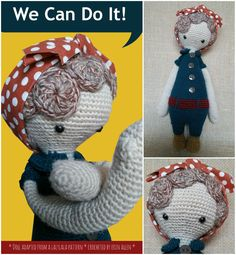 Rosie the Riveter mod made by Erin A. / based on a lalylala crochet pattern
