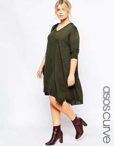 ASOS CURVE Sweater Dress In Fine Knit