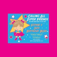 Sassy Supergirl Birthday Invitation by SassyAlice2 on Etsy, $1.50