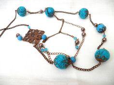 Felt Necklace / Felt Ball Necklace/ Felt Beaded by Marywool, $28.00