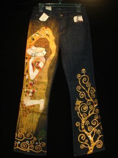 NEW Wearable Art Custom Design Hand Painted THE KISS Denim Jeans 28 US 6 KLIMT