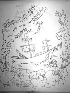 awesome drawing, like the skulls and ship