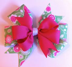 Green and Pink Floral Stacked Pinwheel Bow by SherBearBows on Etsy, $6.00