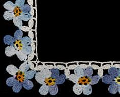Forget-Me-Not Edging crochet pattern from Flower Edgings, originally published by American Thread Company, Star Book 65 in 1949.
