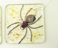 Fused Glass Spider Tile with metal inclusions by trilobiteglassworks on deviantART