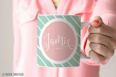 Pretty Mugs, Pink Aqua Mug, Mugs Personalized, Custom Name Mugs, Mugs for Her, Babysitter Mugs, Kids Mugs, Girl Mug, Pastel Mugs (P4911)