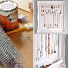 reutilizando un marco viejo para hacer un colgador de collares y pendientes