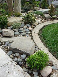 une pelouse jardin entourée de rocaille fleurie, galets et plus grosses pierres, arbustes verts bas, arbres