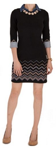 Long-sleeve black knit dress, chambray shirt, gold  crystal statement necklace, nude shoes. (Outfit #5)